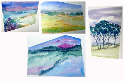 zomer aquarel 3 daagse 'Los van Vast', 2, werk van cursisten
