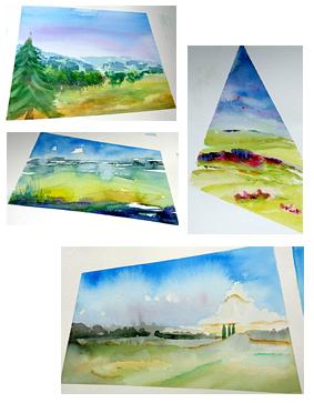 zomer aquarel 3 daagse 'Los van Vast', 3, werk van cursisten