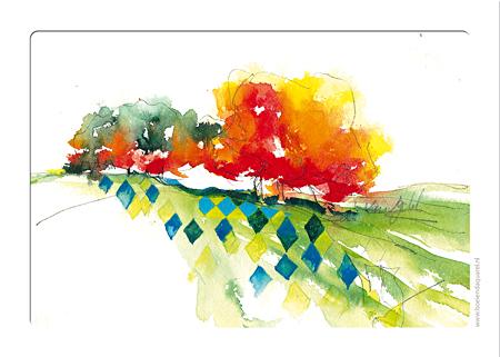 kaarten kleuren aquarellen
