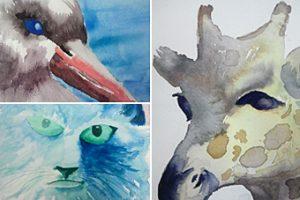 aquarel workshop Veren in een plooi-2 werk van cursisten