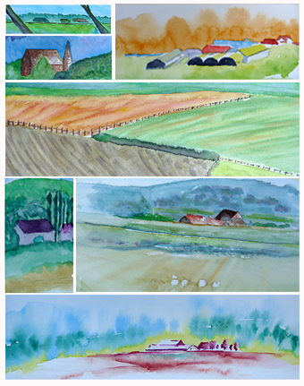 aquarel workshop 'Tussen hier en Horizon', zomer 3 daagse