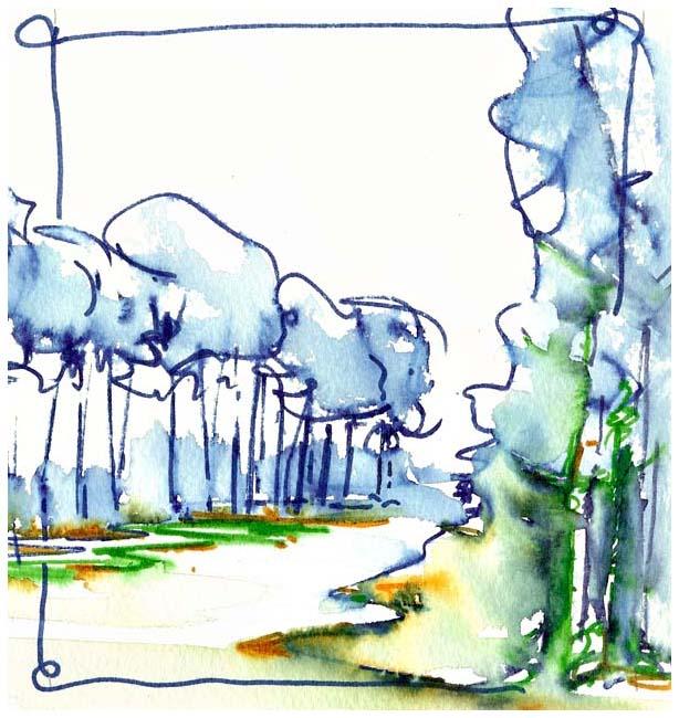 aquarel met markers bomenrije