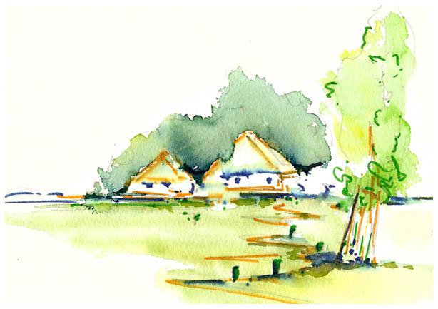 aquarel met verf markers  huis
