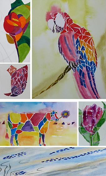workshop aquarel mozaiek, werk van cursisten