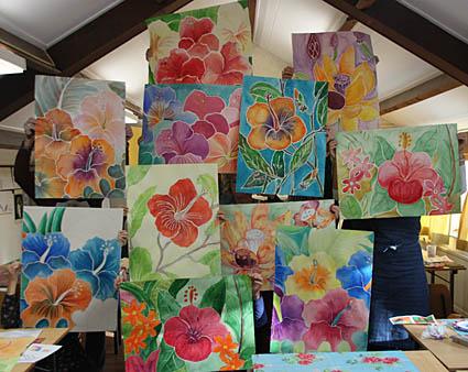 workshop aquarel bali bloem, werk van cursisten
