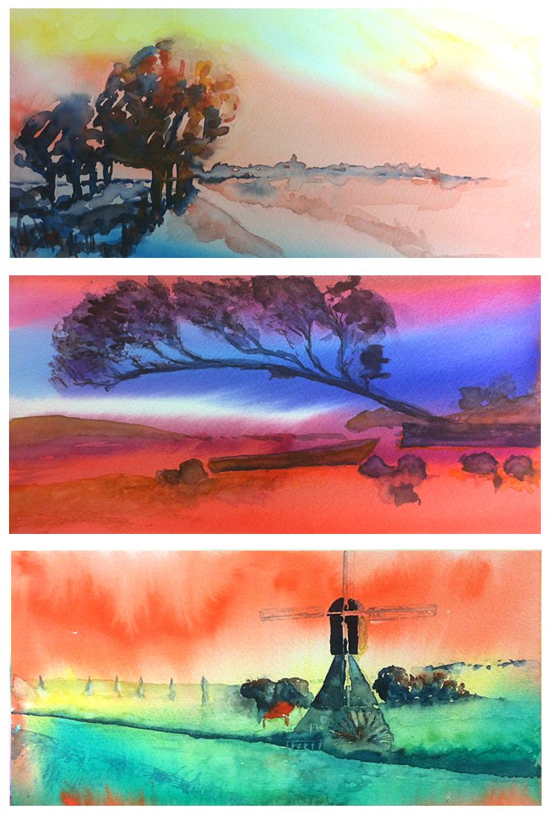 aquarelworkshop Landschap, een kleurrijke waterval