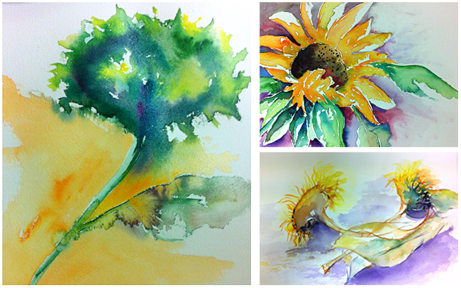afbeeldingen werk cursisten aquarelworkshop 'Goh, van Gogh' 1
