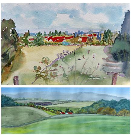 Zomer aquarel 3 daagse Vrolijke vergezichten in dromerige dalen, atelier van vegchel