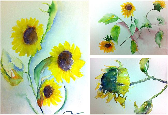 afbeeldingen werk cursisten aquarelworkshop 'Goh, van Gogh' 2